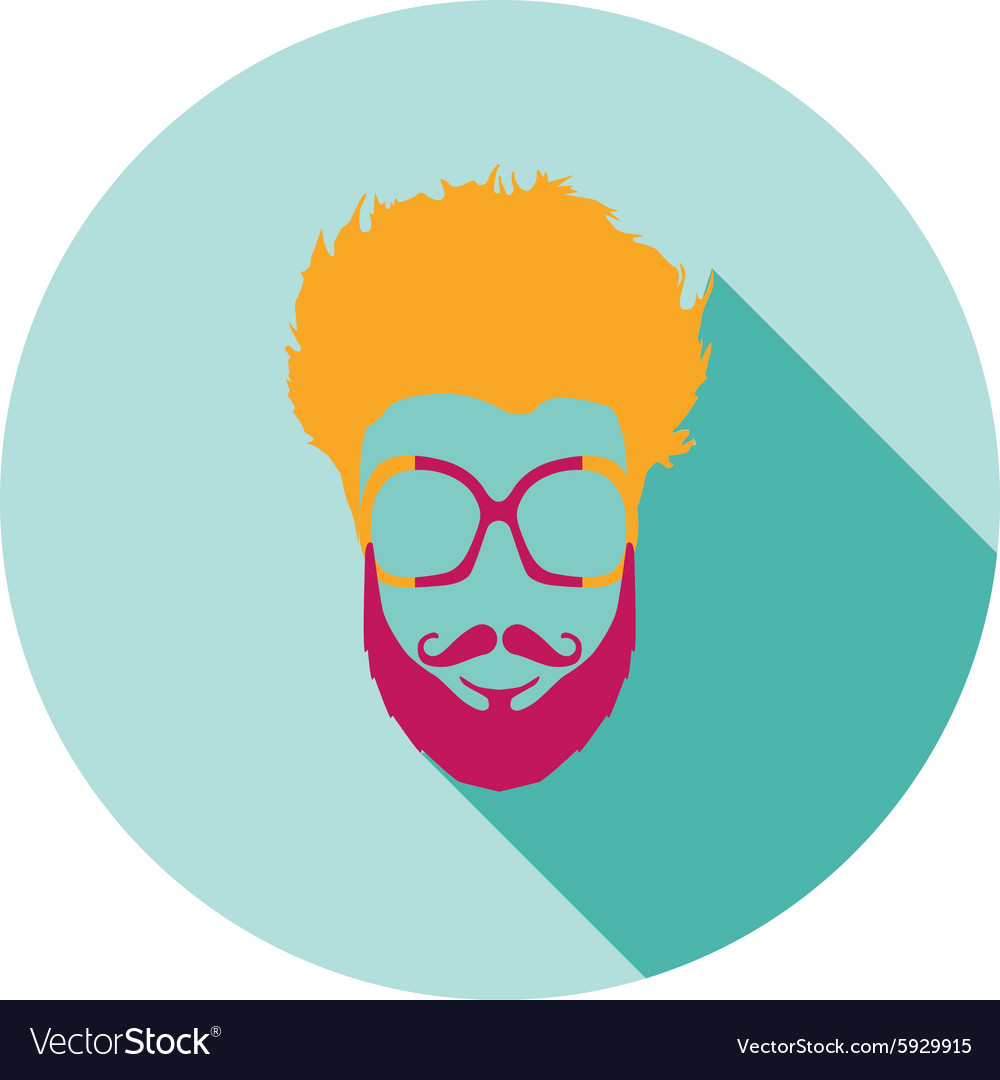 Super hero mask glasses beard hair Flat style vector image