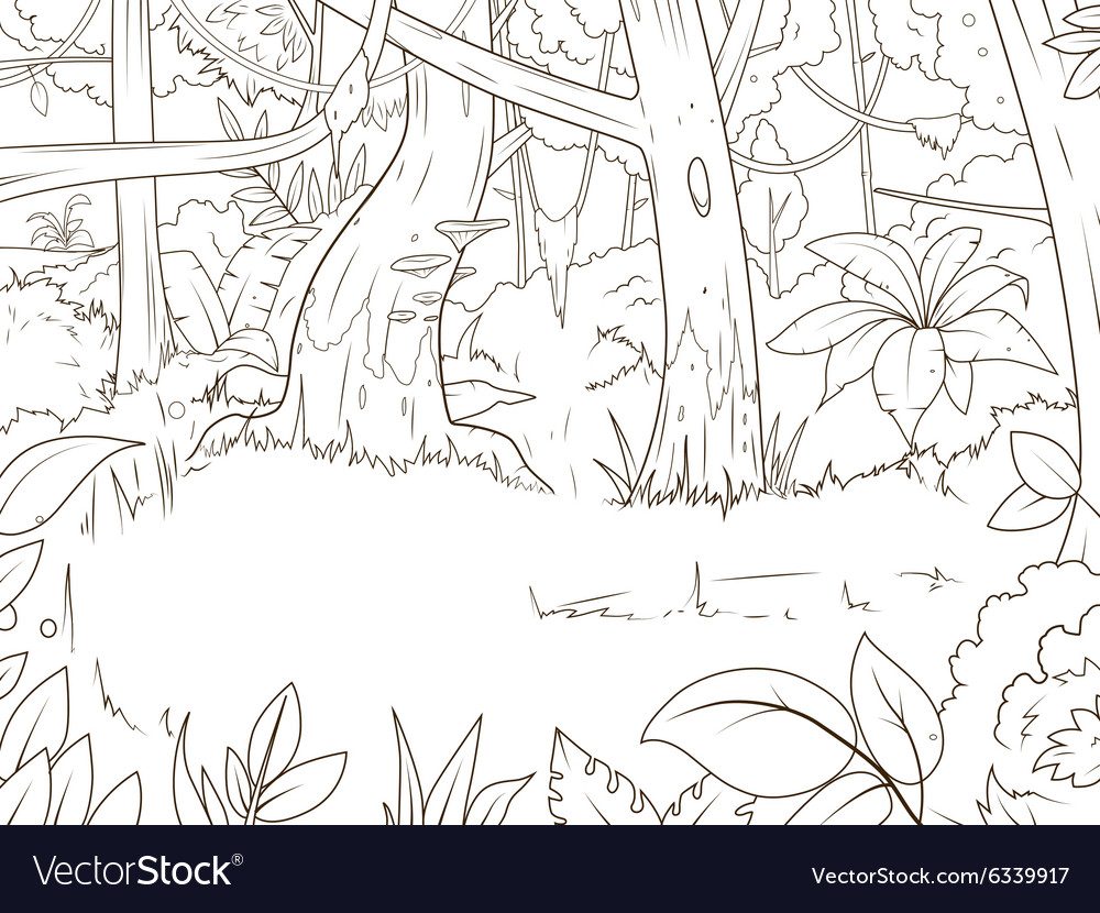Jungle Forest Cartoon Coloring Book Vector Image