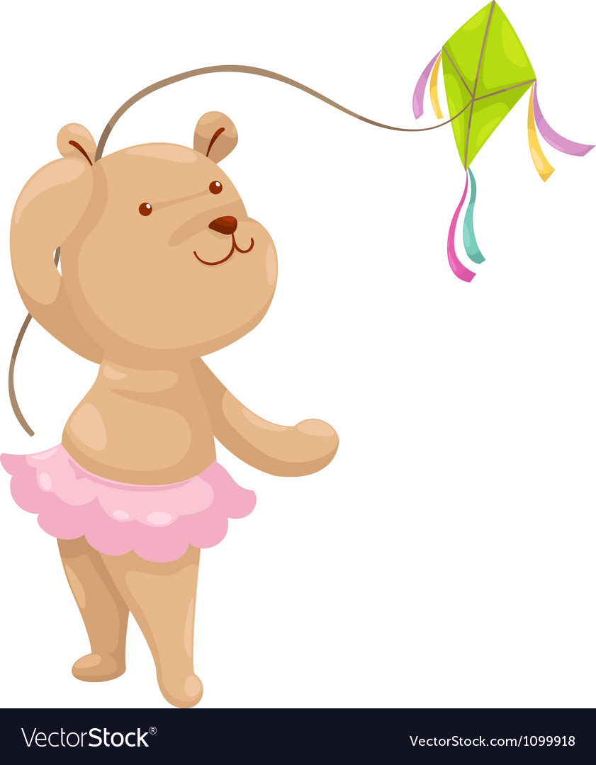 Bear with a kite vector image