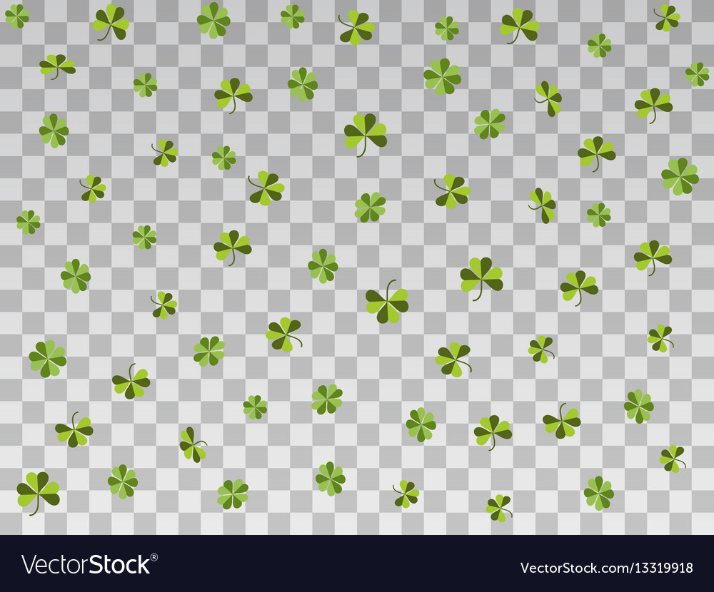 Falling clover on a transparent background vector image