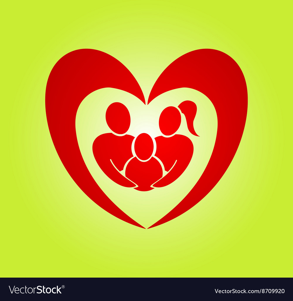 Abstract heart family vector image