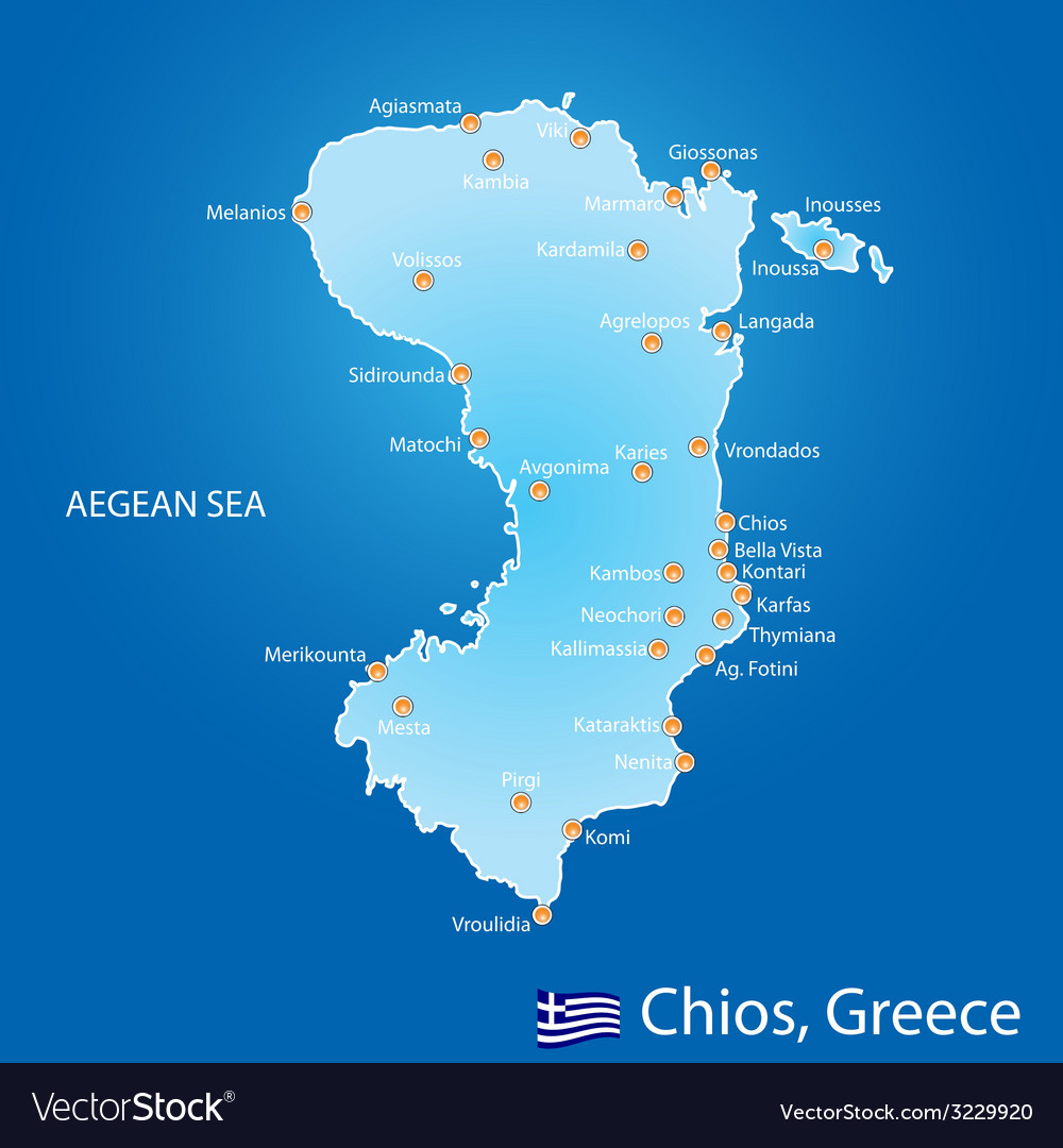 Island of Chios in Greece map vector image