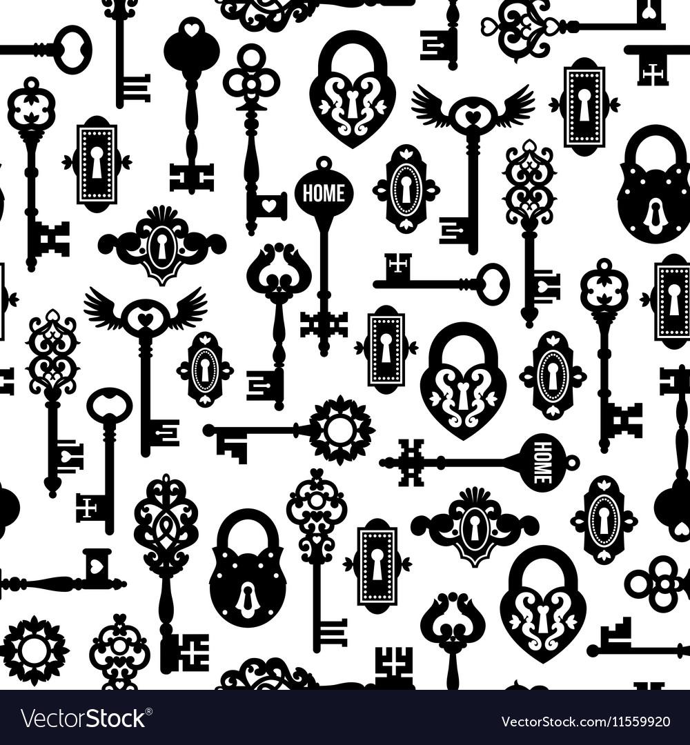 Keys And Locks Seamless Pattern vector image