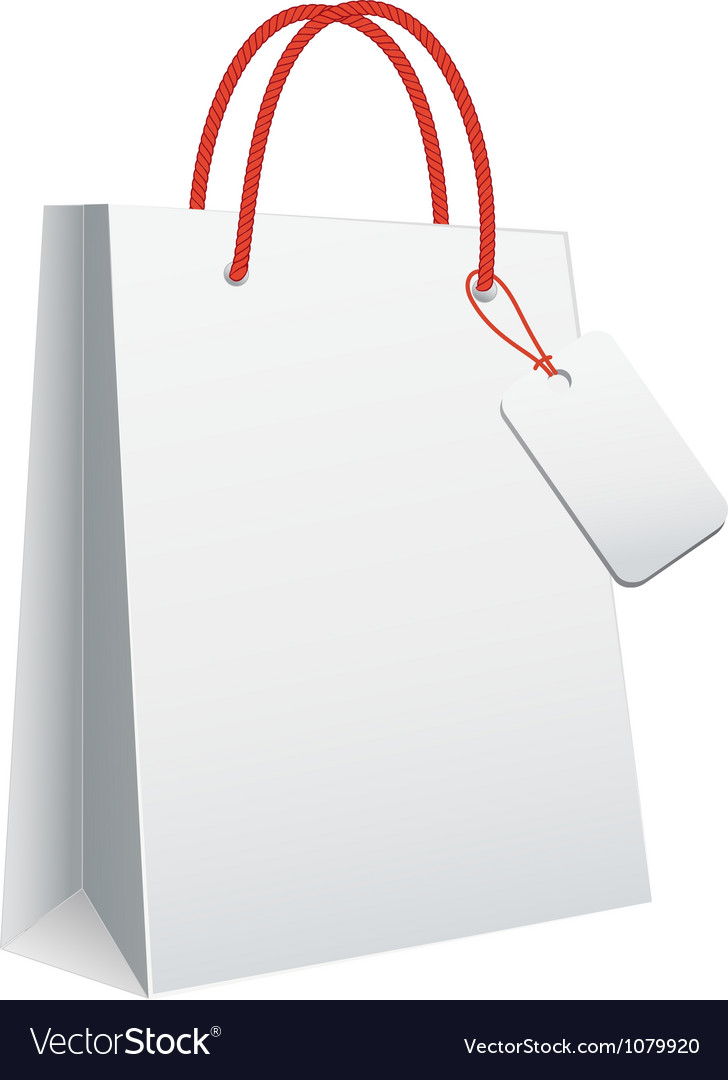 White blank shopping bag vector image