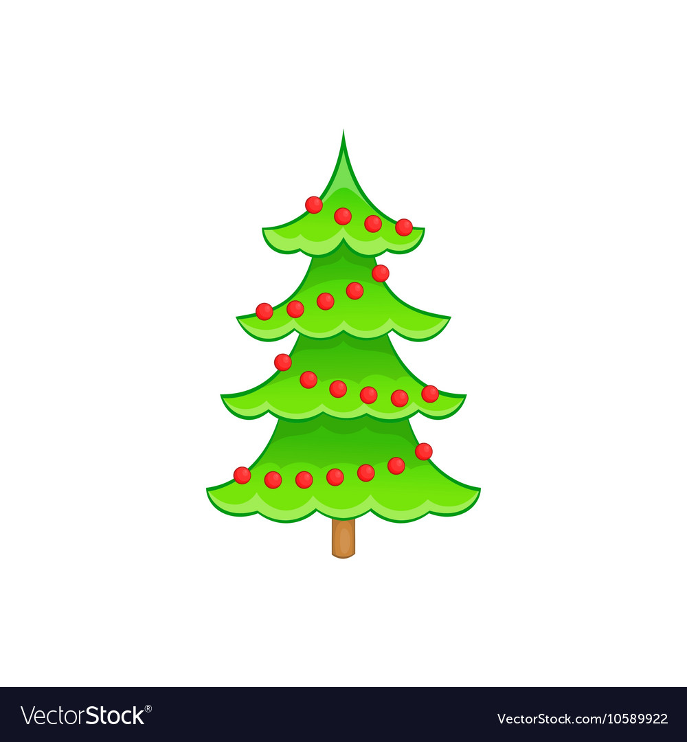 Christmas tree icon cartoon style vector image