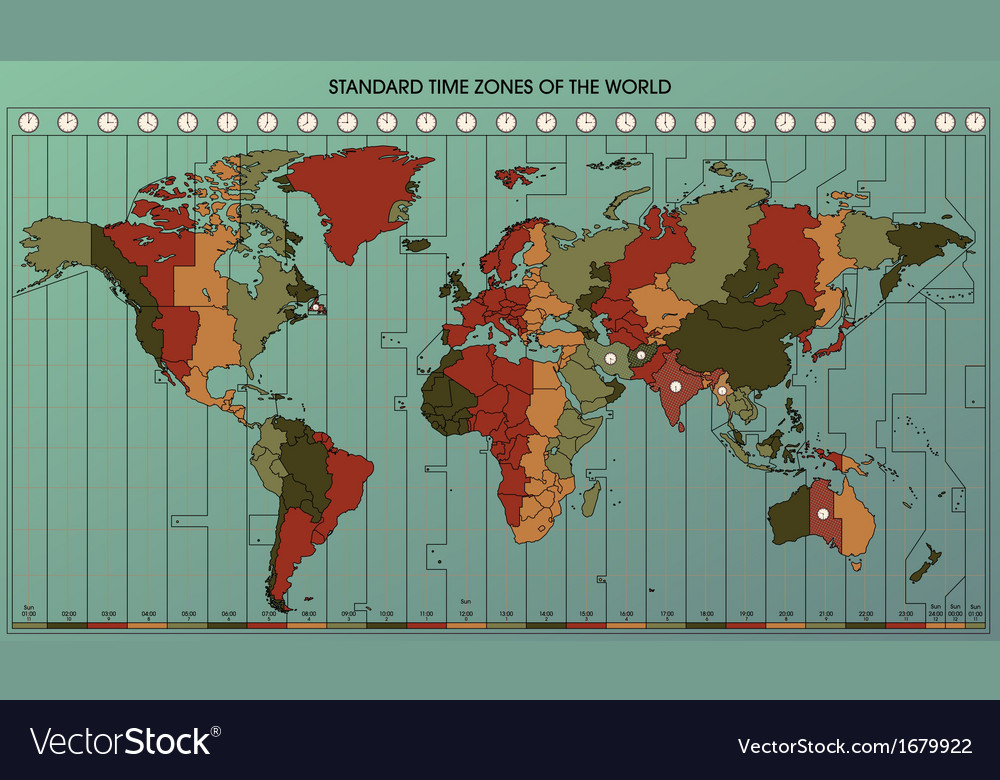 World map time zones 2 royalty free vector image world map time zones 2 vector image gumiabroncs Image collections