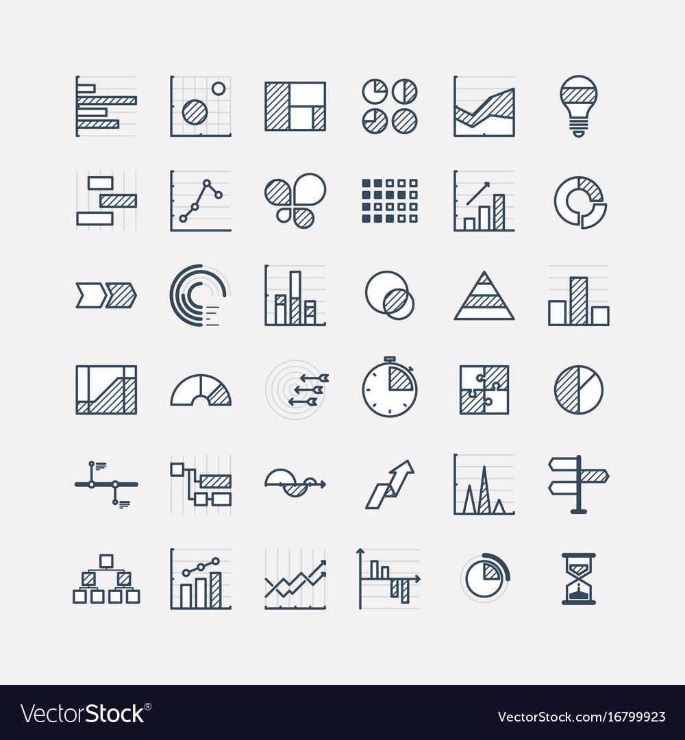 Business data market elements dot pie bar charts vector image