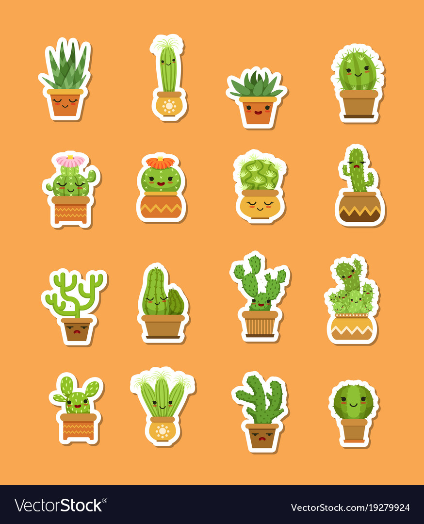 Cacti in pots flat style stickers vector image