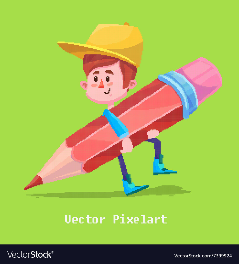 Pixel funny girl Isolated on violet background vector image