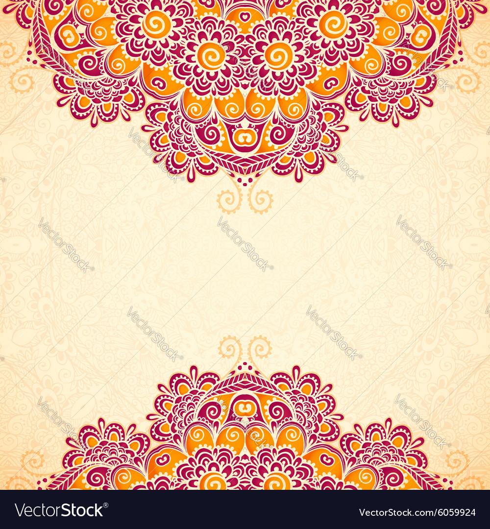 Vintage flowers ethnic background in Indian mehndi vector image