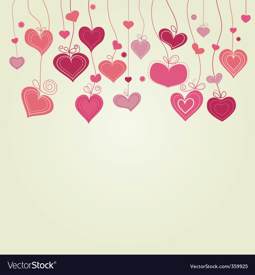 Cute hearts background vector image