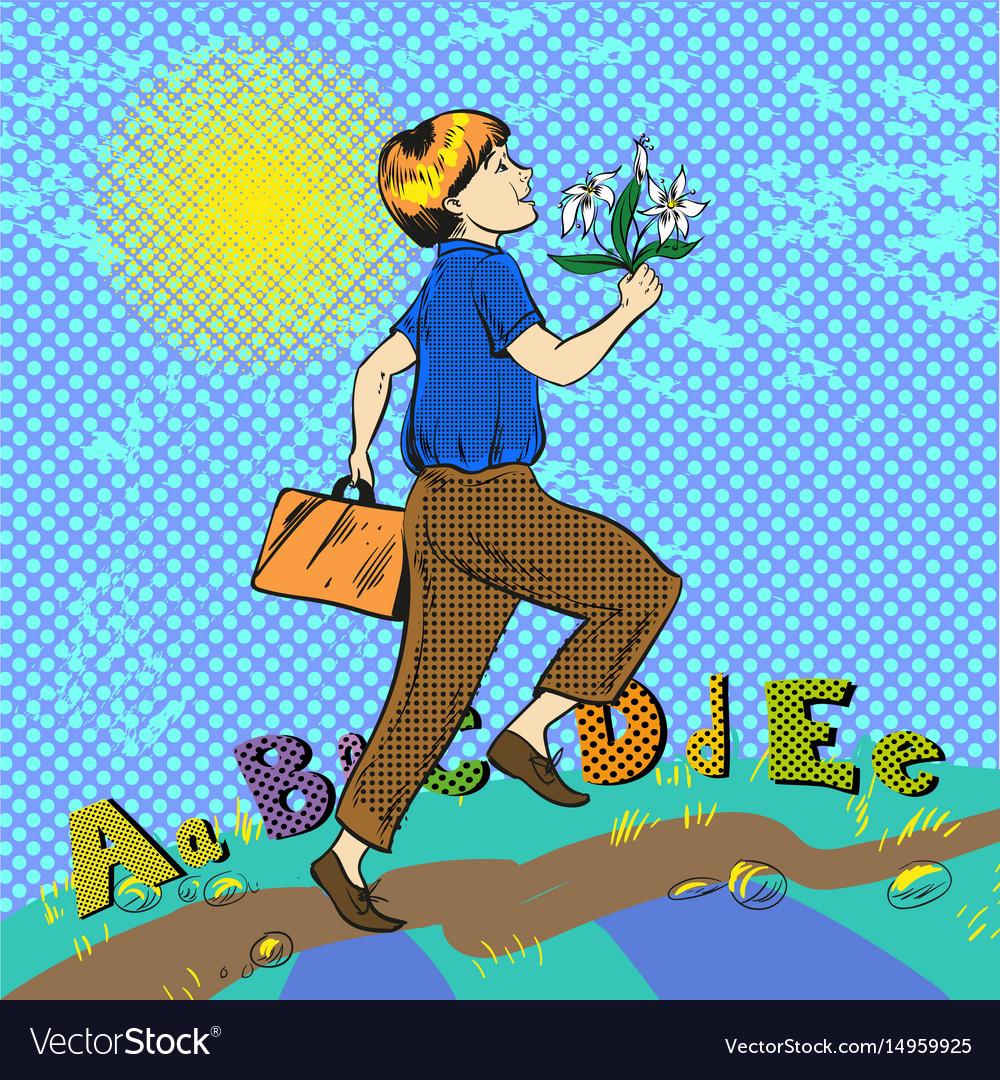 Pop art of happy boy running vector image