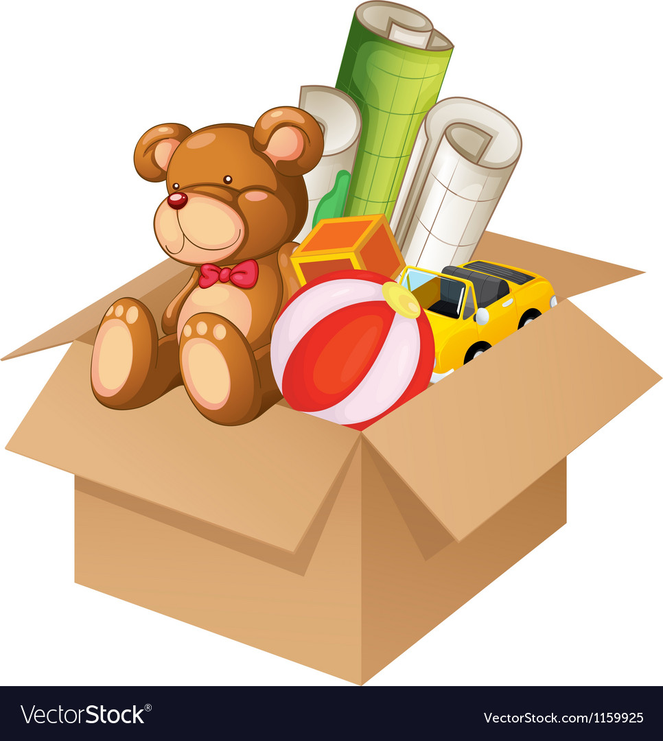 Toys in a box vector image