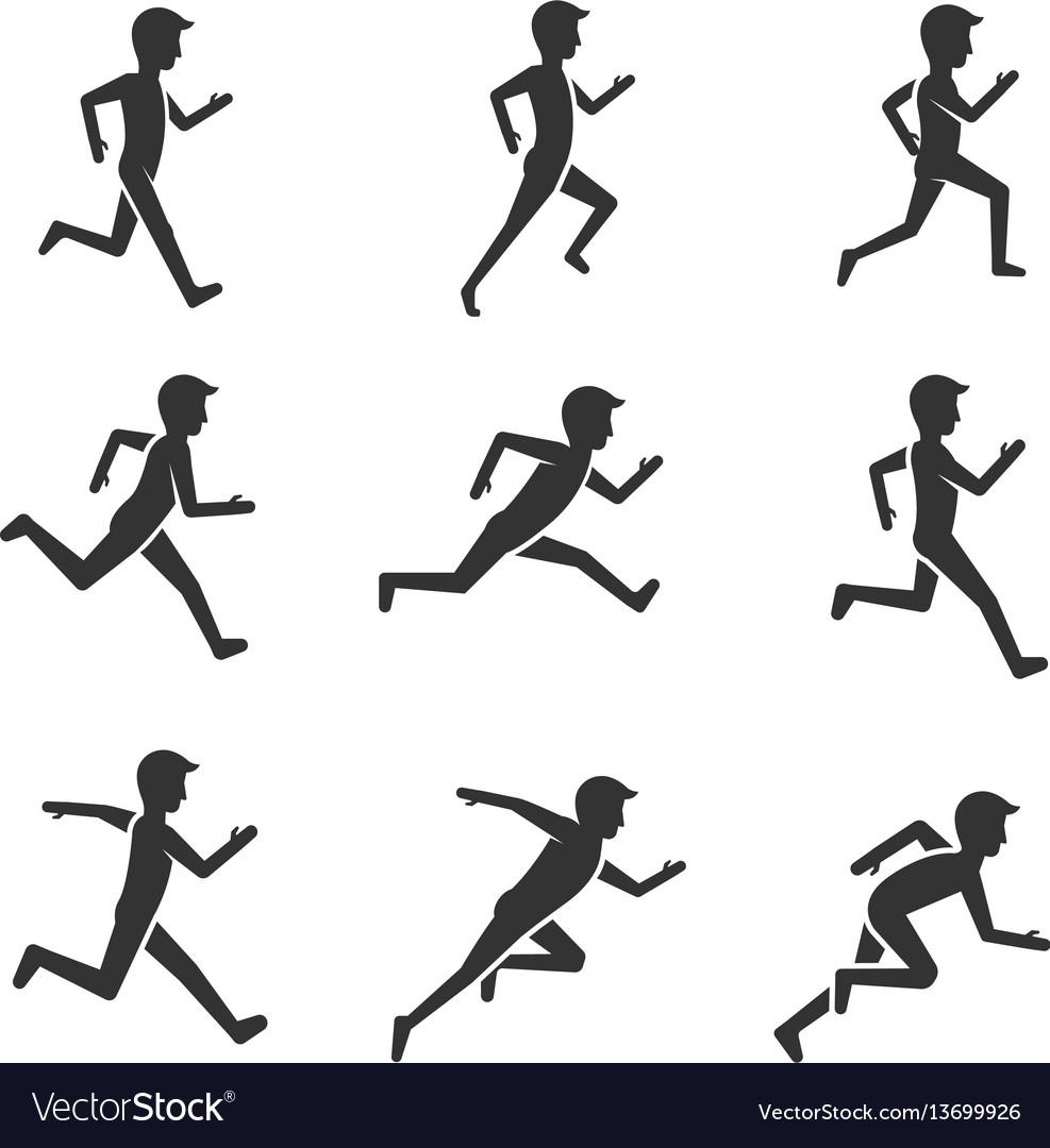 Black man running figure isolated on white vector image