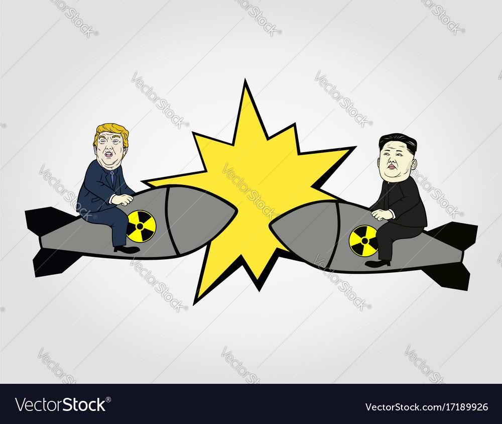 Donald trump vs kim jong-un nuclear flat design vector image