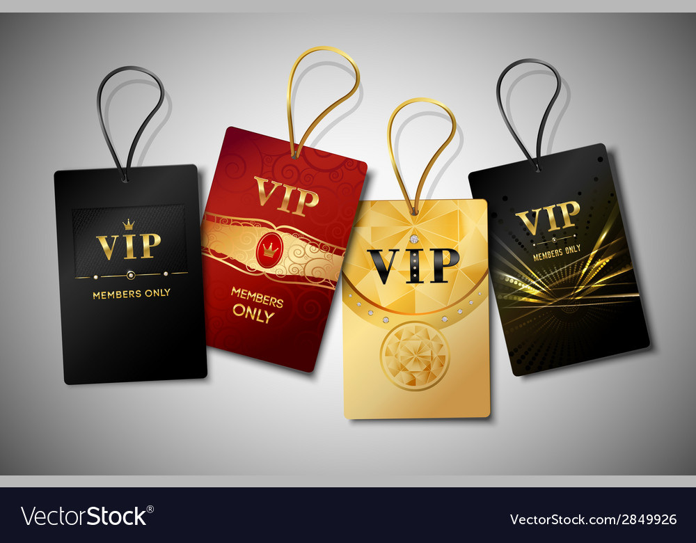 Vip tags design set vector image