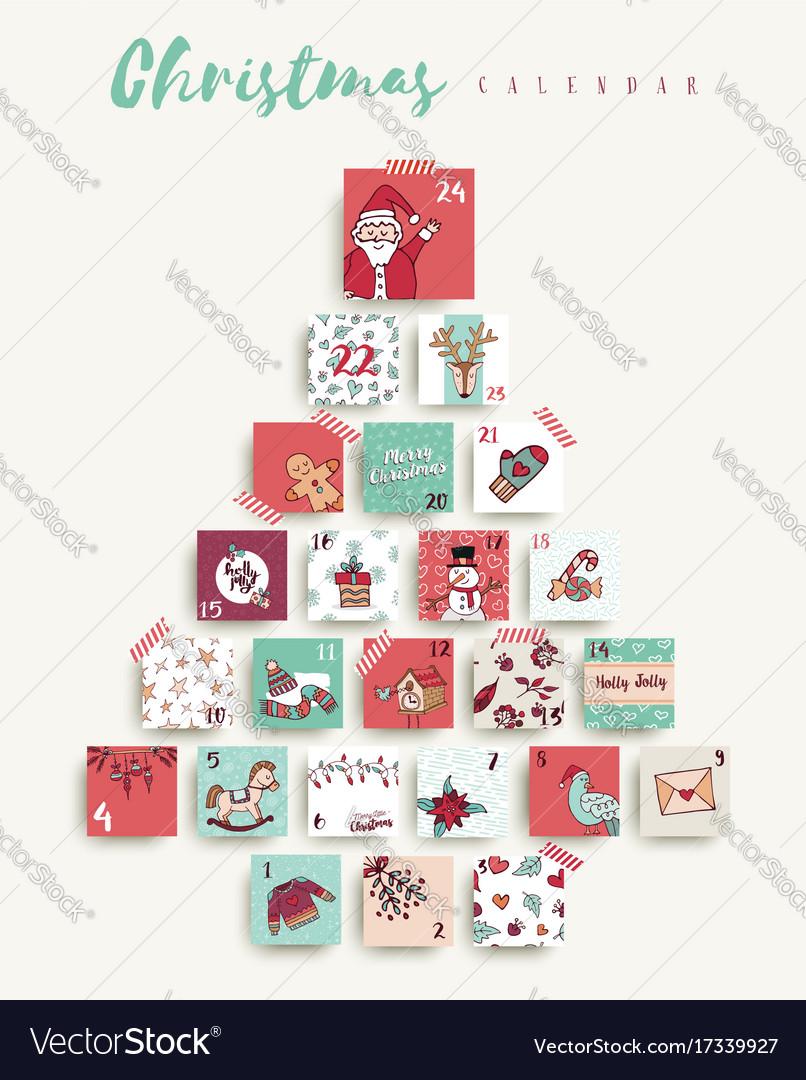 Christmas advent calendar cute cartoon holiday art vector image