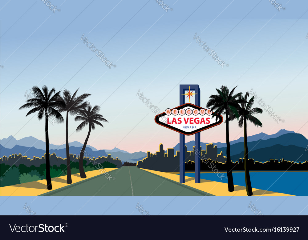 Las vegas city skyline travel usa background vector image