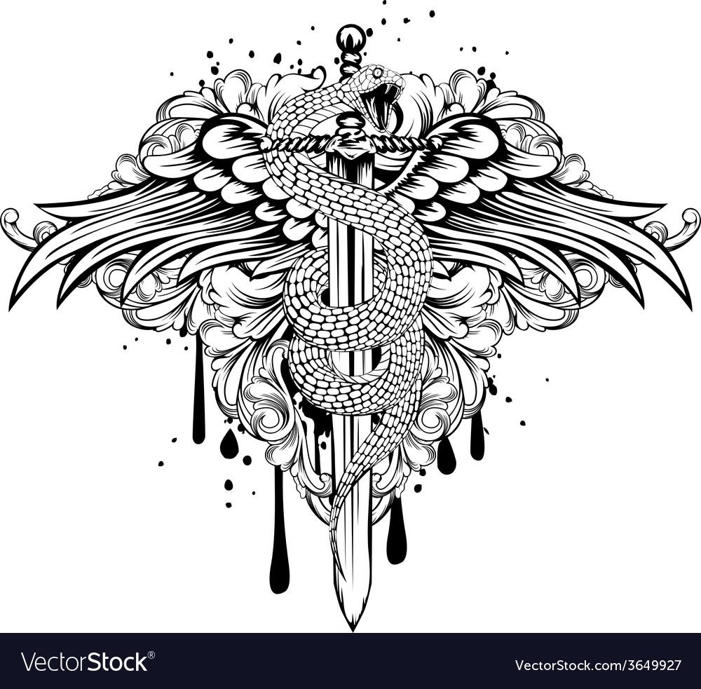 Sword wings snake patterns vector image