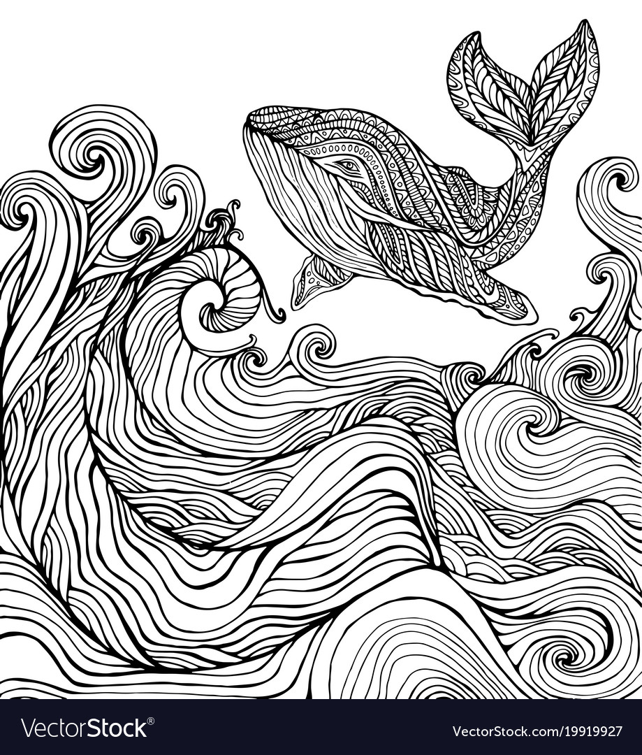 Whale and ocean waves coloring page Royalty Free Vector