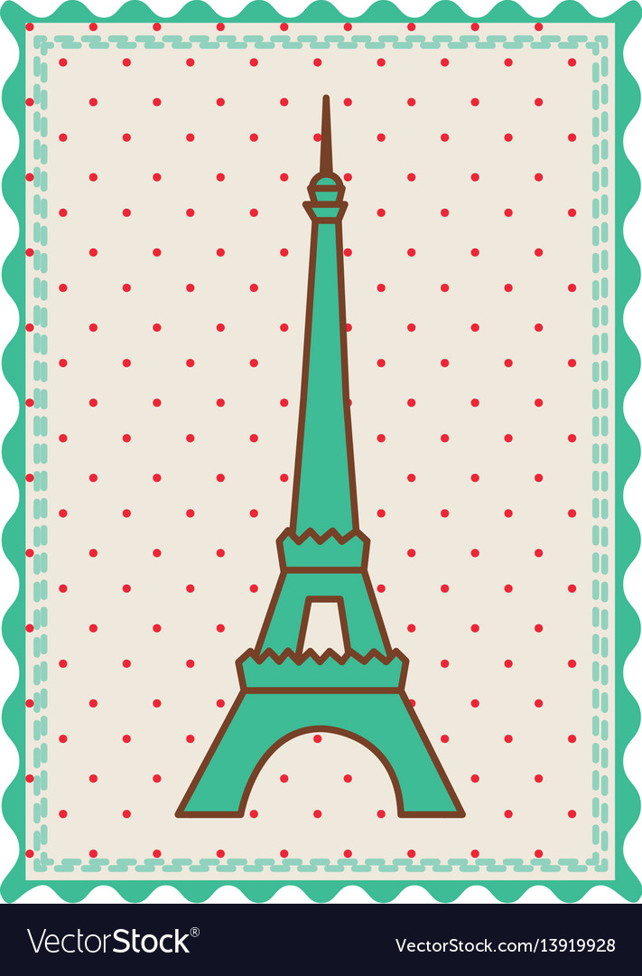 frame with silhouette of eiffel tower with vector image - Eiffel Tower Picture Frame