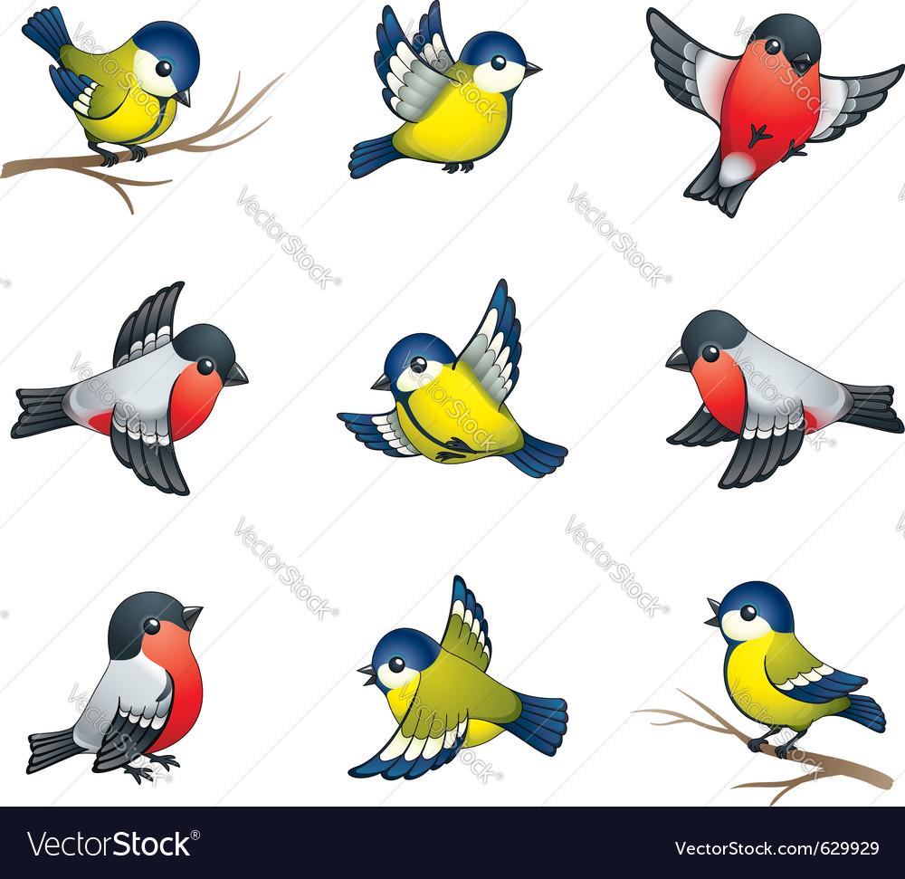 Winter birds vector image