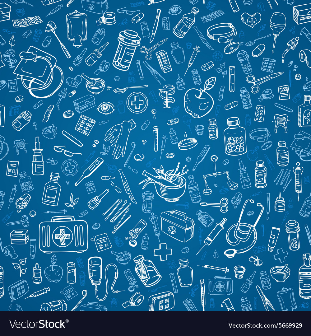 Medicine doodle seamless background vector image