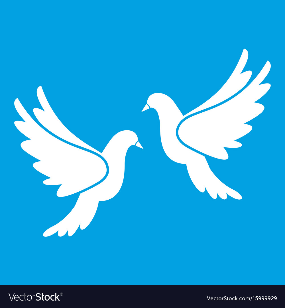 Wedding doves icon white vector image