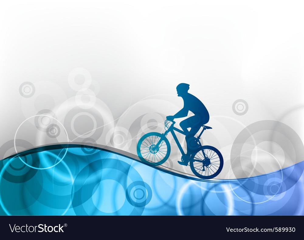 Biker on the blue wave Vector Image