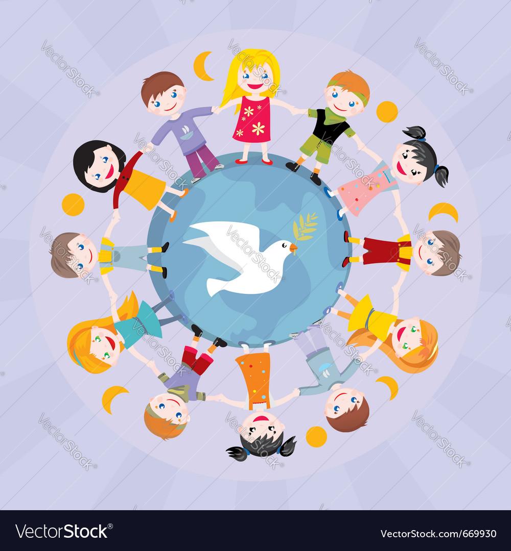 Children round globe vector image
