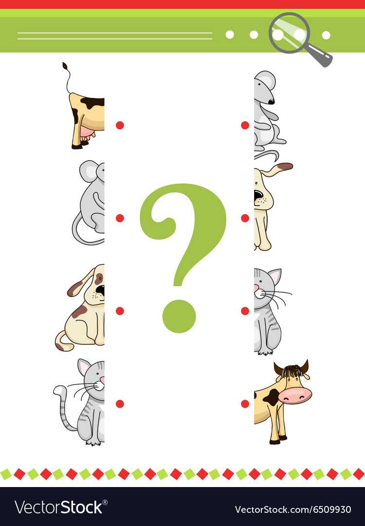 Halves matching game for preschool children book vector image