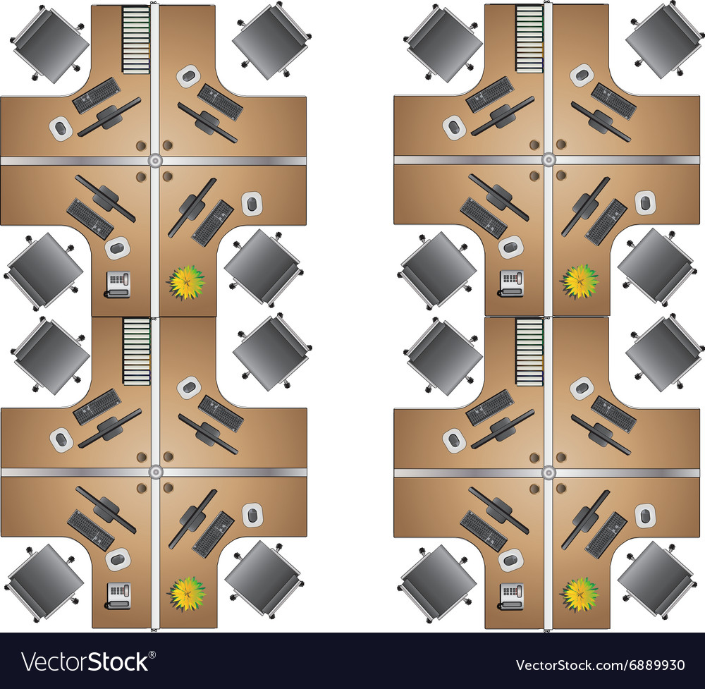 Office furniture top view - Office Furniture Workstation Top View For Interior Vector Image