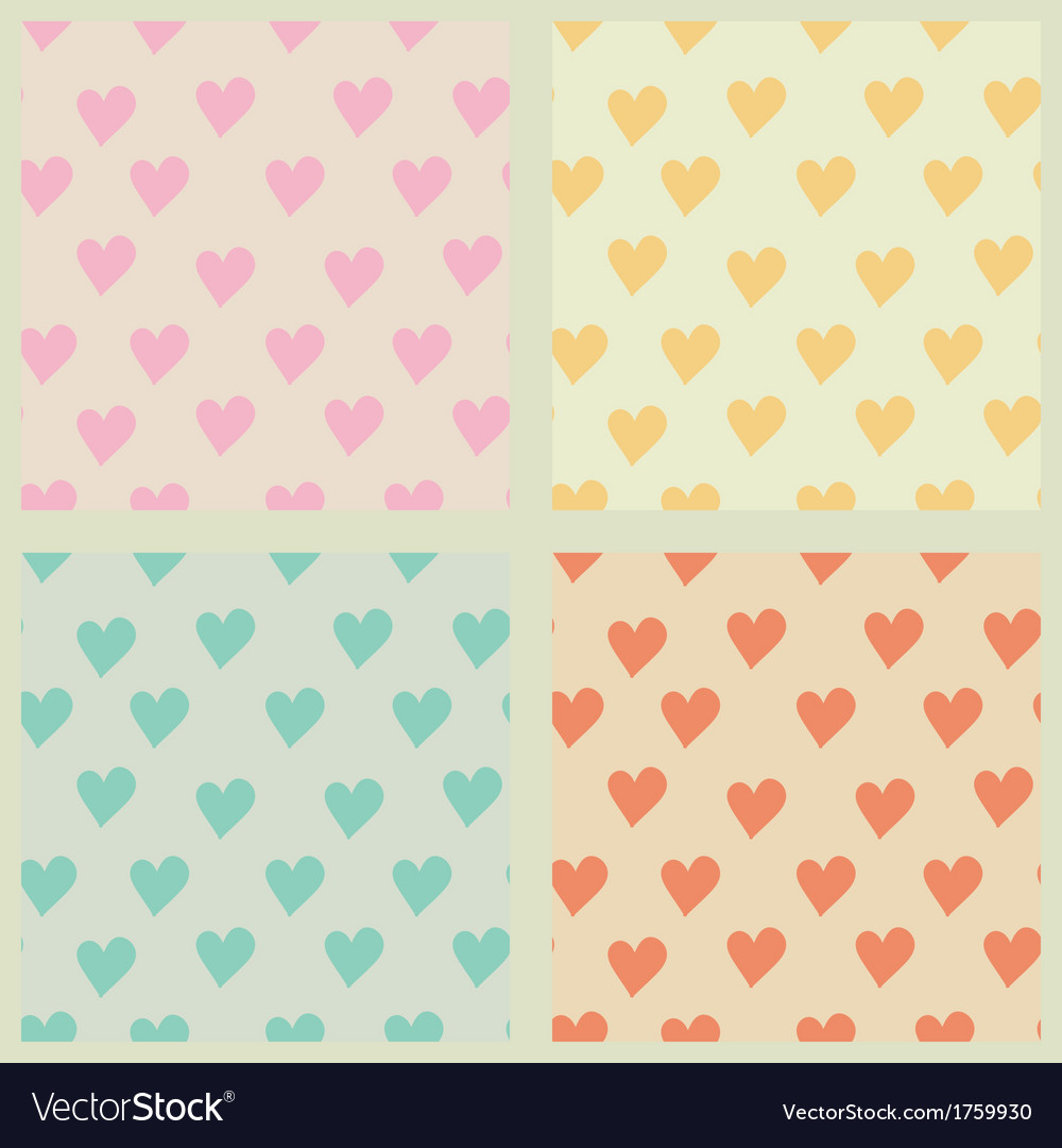 Set of hearts seamless patterns vector image