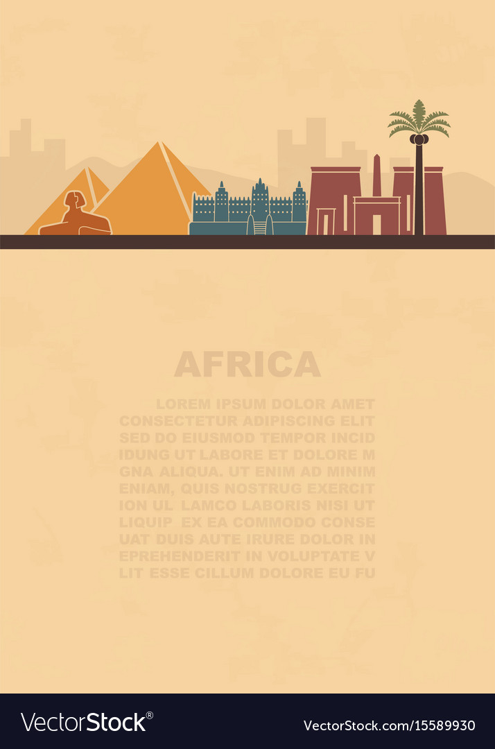 The layout of the leaflets with the sights africa vector image