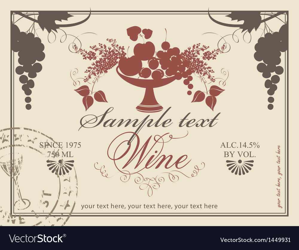 Label for wine Vector Image