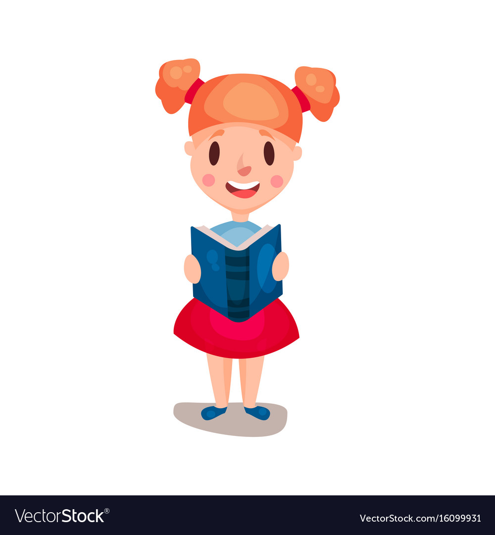 Adorable redhead girl standing and reading a book vector image