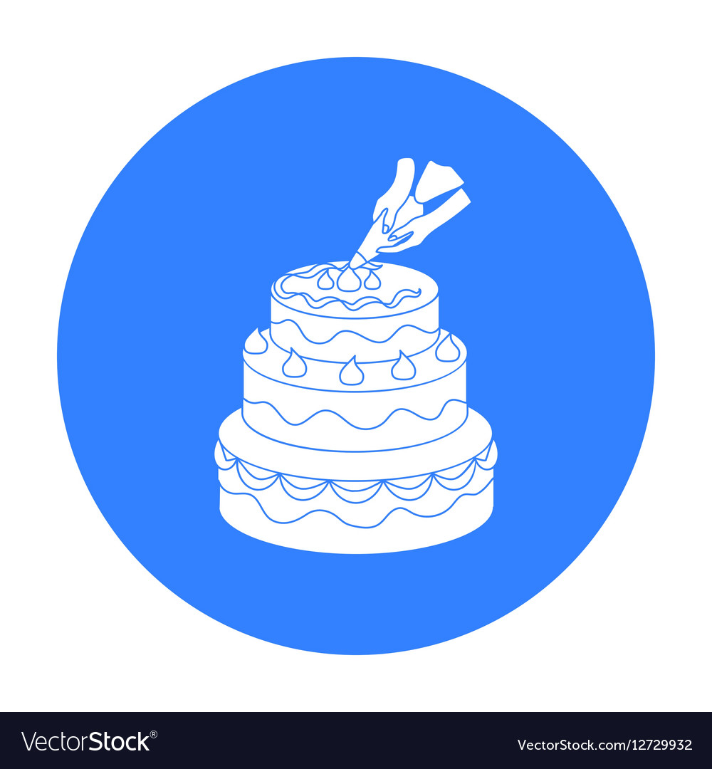 Decorating of birthday cake icon in black style Vector Image