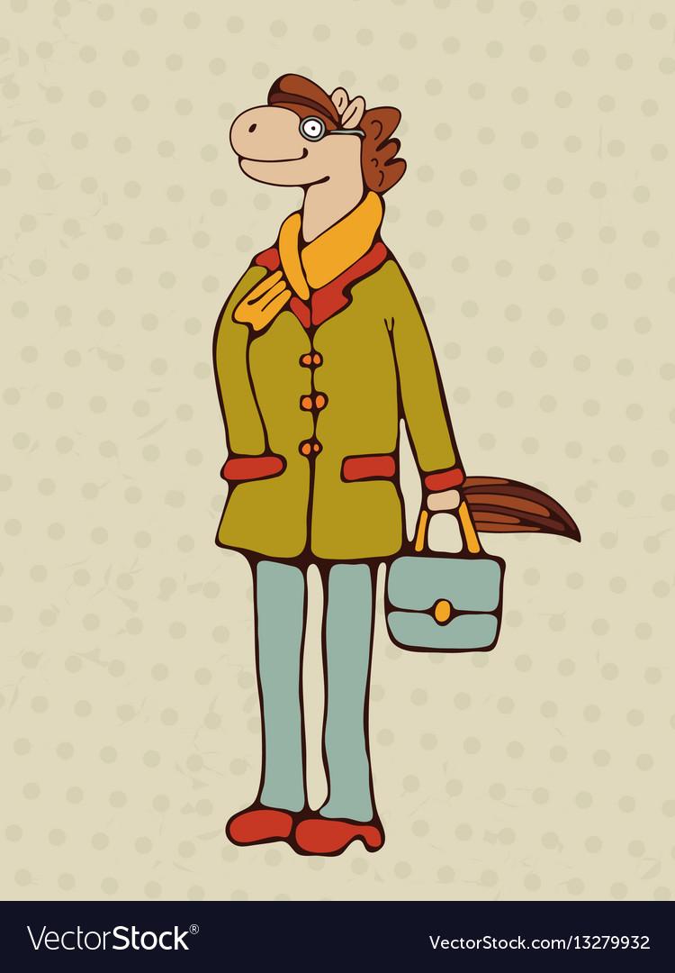 Hand drawn horse character vector image
