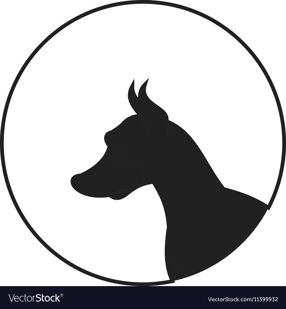 silhouette of a dog head doberman pinscher vector image