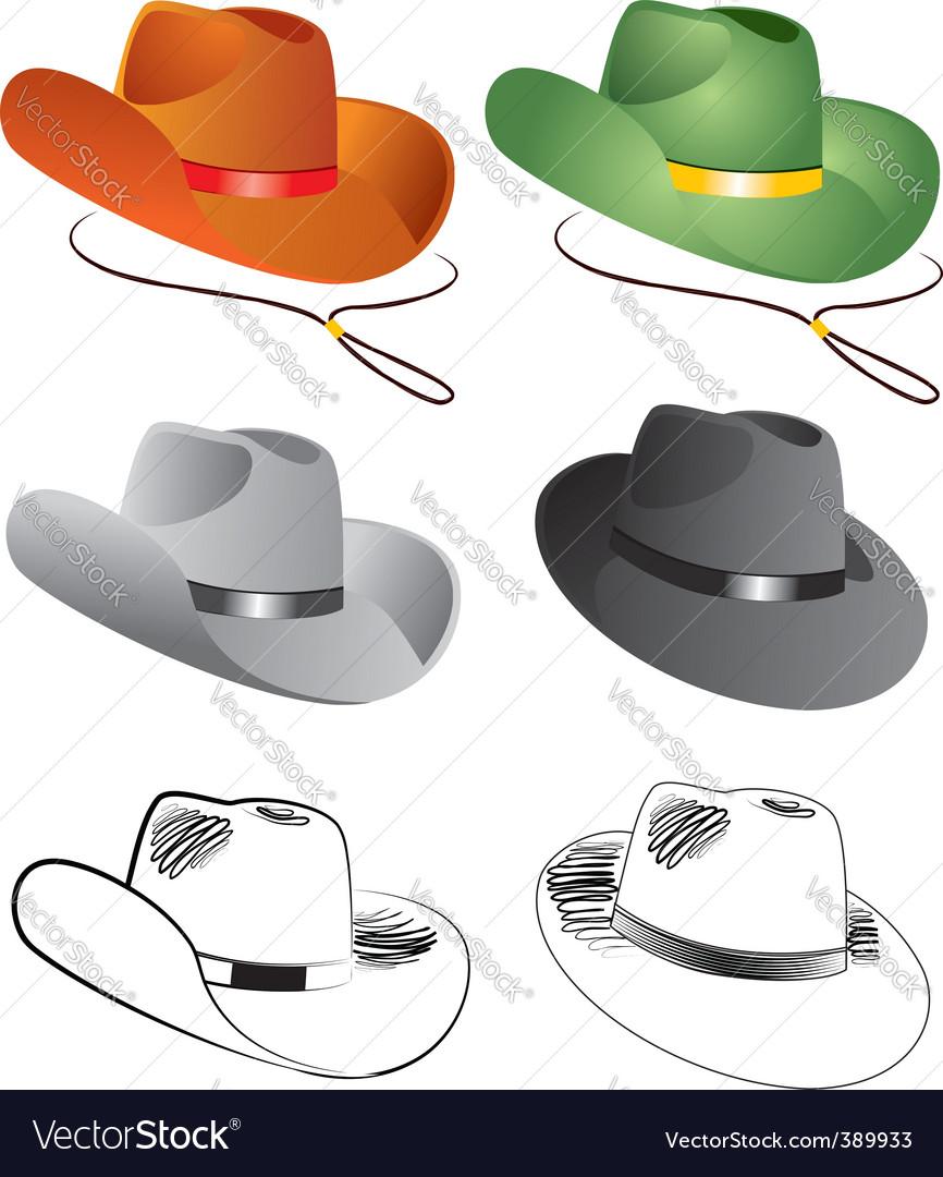 Cowboy hats vector image