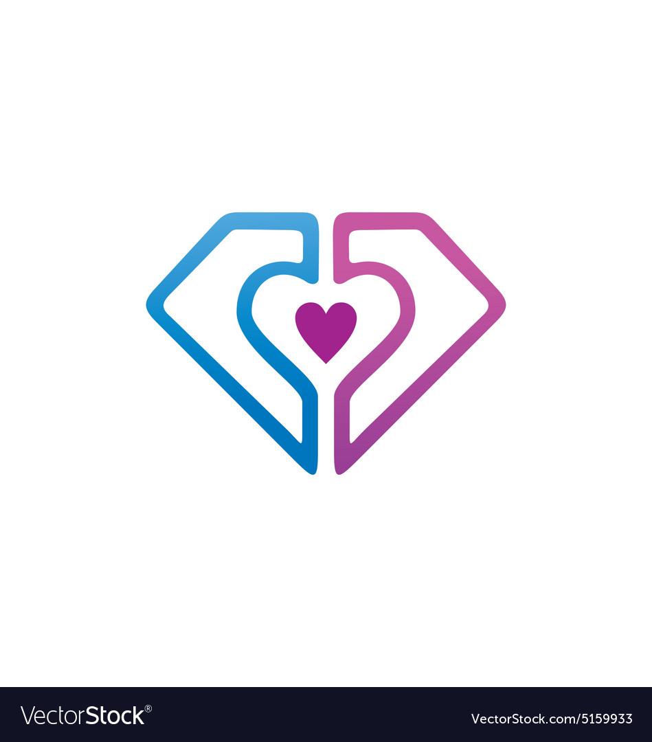 Love shield protection couple logo vector image