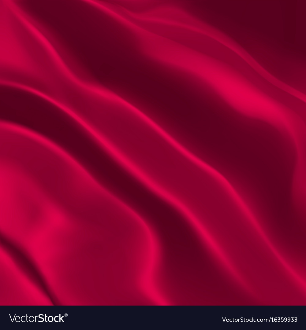 Red silk fabric vector image