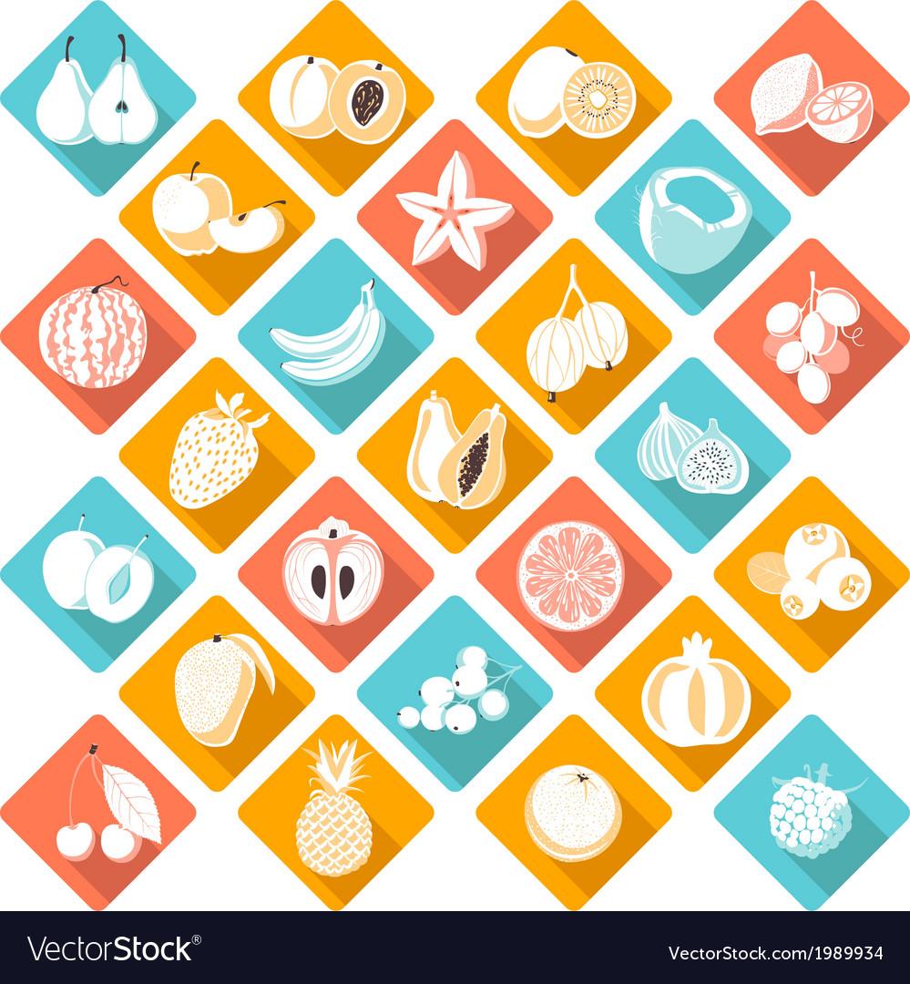 Flat fruits vector image