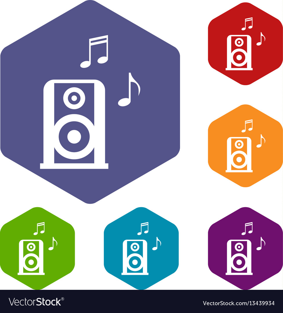 Portable music speacker icons set vector image