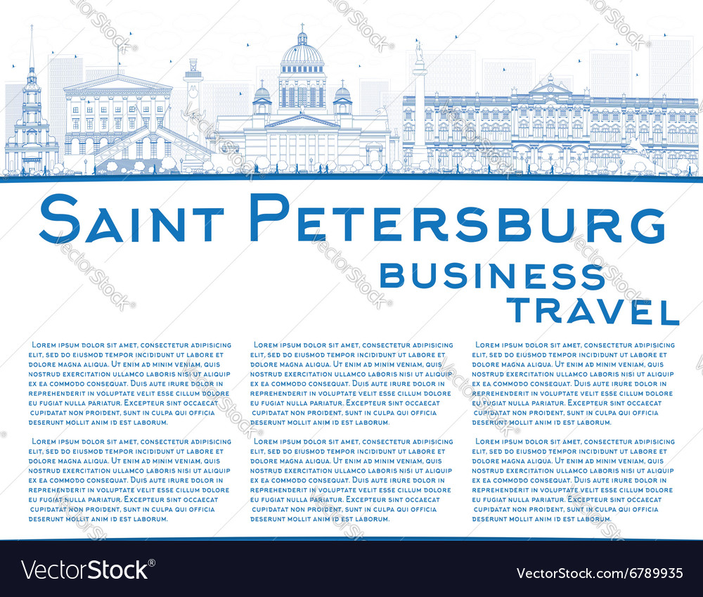 Outline Saint Petersburg skyline vector image