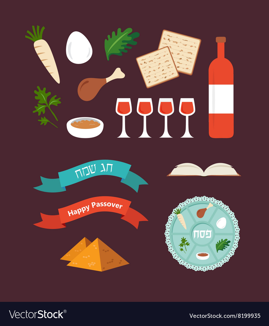 Passover seder plate with flat trasitional icons vector image passover seder plate with flat trasitional icons vector image buycottarizona
