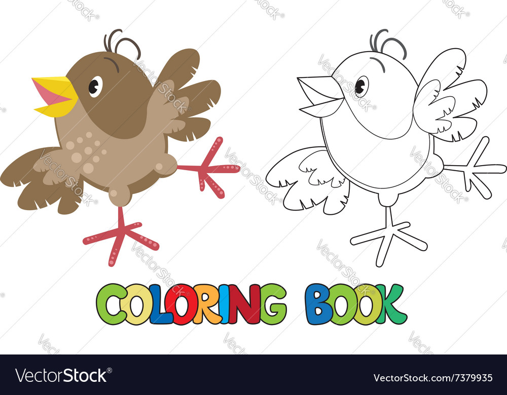 Small funny sparrow coloring book Royalty Free Vector Image
