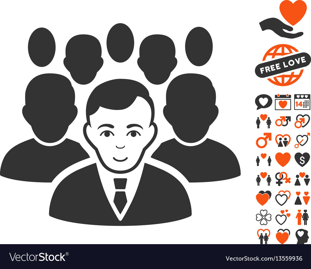 Crowd icon with lovely bonus vector image