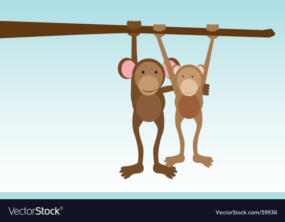 Monkey love vector image