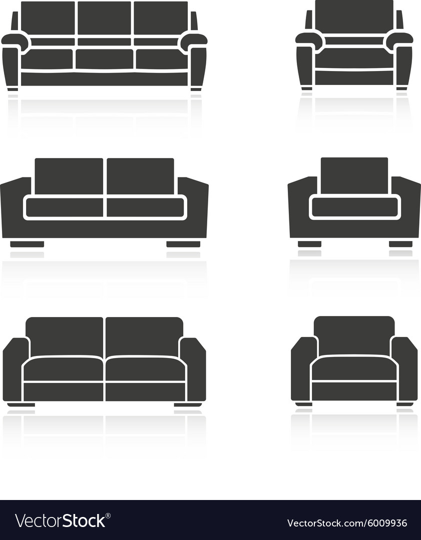 Set of sofas and armchairs vector image